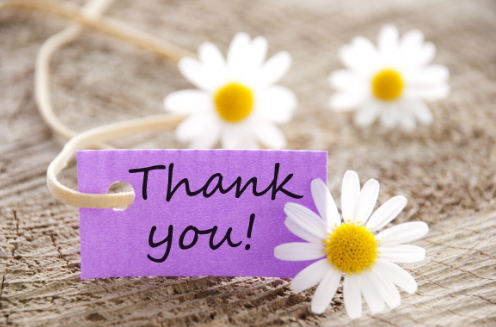 Three daisies with purple tag that says thank you